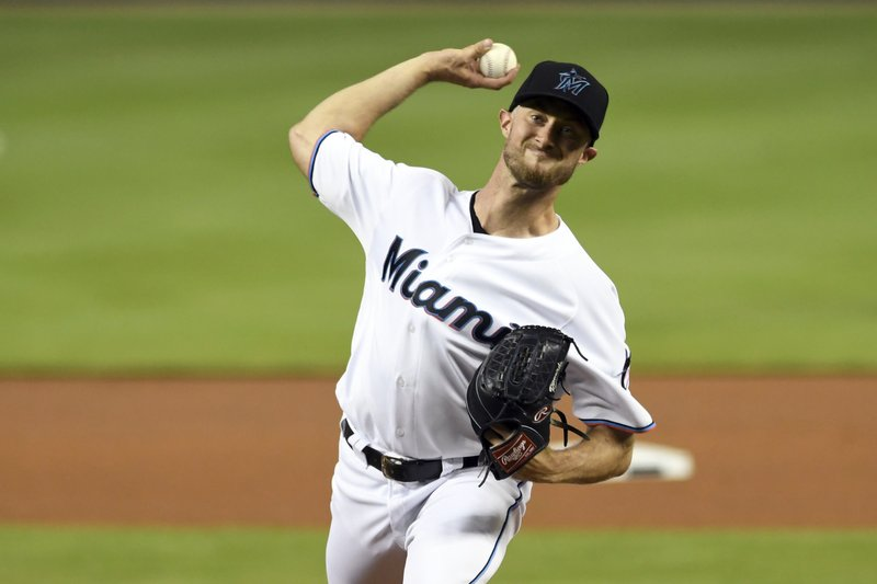 Miami Marlins' Trevor Richards pitches against the New York Mets during the first inning of a baseball game Wednesday, April 3, 2019, in Miami. (AP Photo/Jim Rassol)