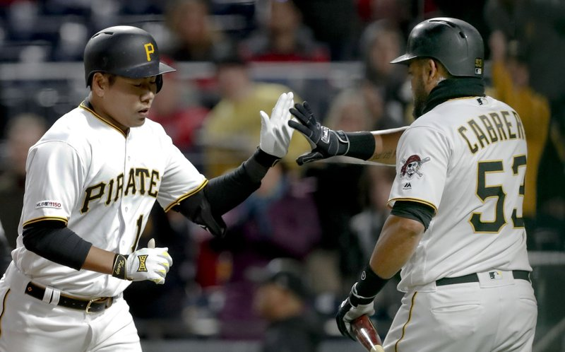 Pittsburgh Pirates' Jung Ho Kang, left, is greeted by on deck batter Melky Cabrera after hitting a solo home run in the third inning of a baseball game against the St. (AP Photo/Keith Srakocic)