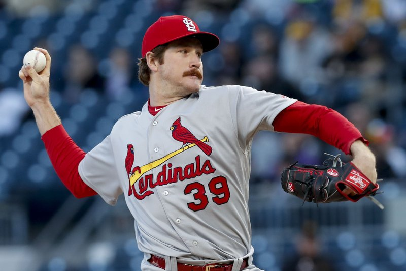 St. Louis Cardinals starting pitcher Miles Mikolas throws against the Pittsburgh Pirates in the first inning of a baseball game, Wednesday, April 3, 2019, in Pittsburgh. (AP Photo/Keith Srakocic)