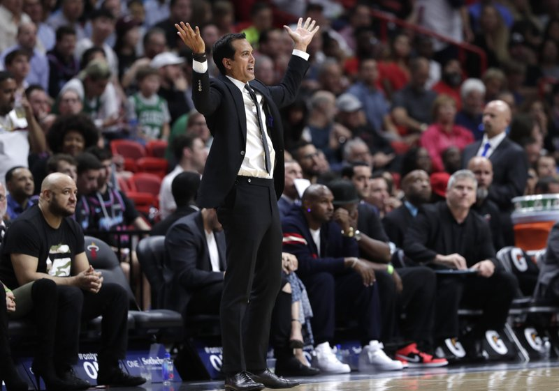 Miami Heat coach Erik Spoelstra reacts during the second half of the team's NBA basketball game against the Boston Celtics, Wednesday, April 3, 2019, in Miami. (AP Photo/Lynne Sladky)