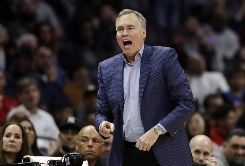 Houston Rockets coach Mike D'Antoni argues a call during the first half of the team's NBA basketball game against the Los Angeles Clippers on Wednesday, April 3, 2019, in Los Angeles. (AP Photo/Marcio Jose Sanchez)