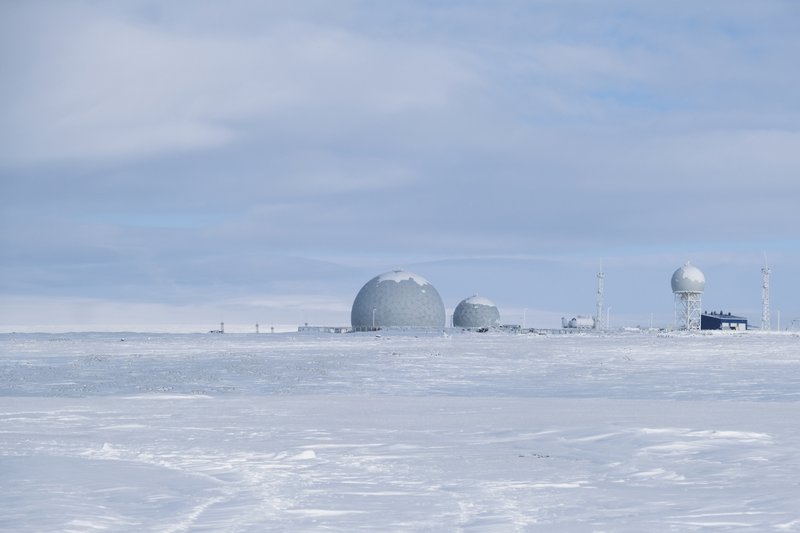 This photo taken on Wednesday, April 3, 2019, shows a radar facility on Kotelny Island, part of the New Siberian Islands archipelago located between the Laptev Sea and the East Siberian Sea, Russia. (AP Photo/Vladimir Isachenkov)
