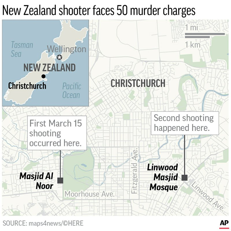 Graphic locates two mosques in Christchurch, New Zealand, where two mass shootings occurred;