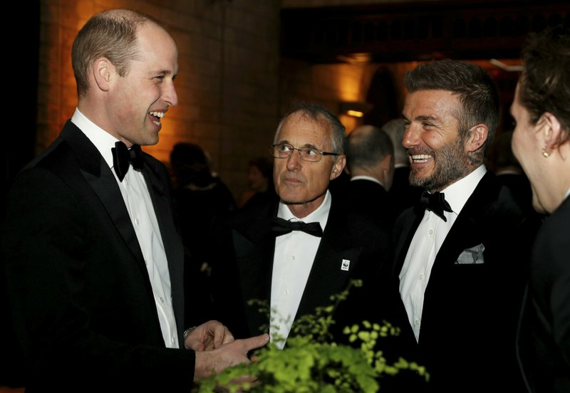Britain's Prince William and David Beckham during the global premiere of Netflix's