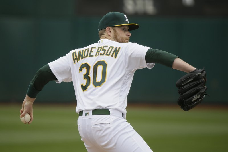 Oakland Athletics starting pitcher Brett Anderson works in the first inning of a baseball game against the Boston Red Sox, Thursday, April 4, 2019, in Oakland, Calif. (AP Photo/Eric Risberg)