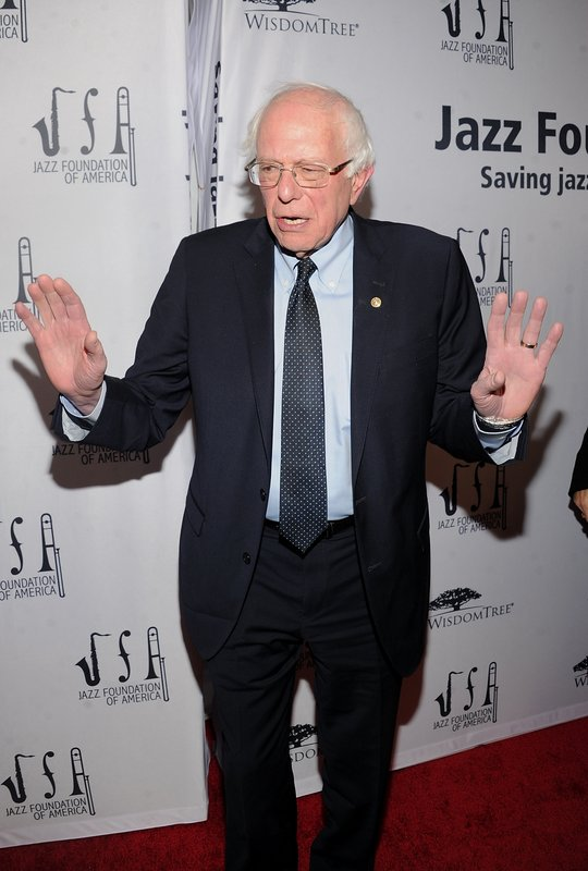2020 Democratic presidential candidate Bernie Sanders walks the red carpet at the Jazz Foundation of America's 17th annual