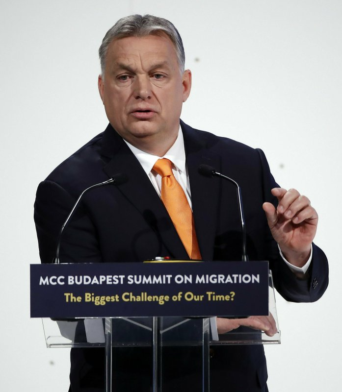 Hungarian Prime Minister Viktor Orban delivers his speech during the MCC Budapest Summit on Migration titled 'The Biggest Challenge of Our Time?' organized by the Mathias Corvinus Collegium (MCC) in Varkert Bazaar in Budapest, Hungary, Saturday, March 23, 2019. (Tibor Illyes/MTI via AP)