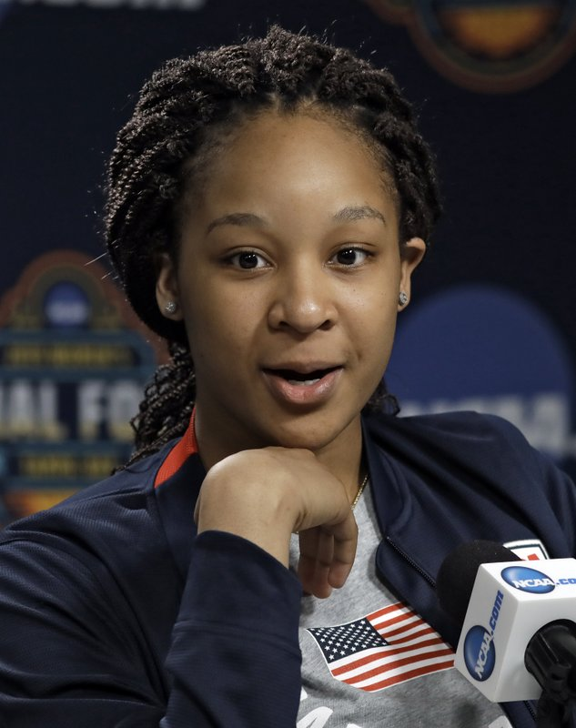 In this Thursday April 4, 2019, photo, Maori Davenport answers a question during a news conference in Tampa, Fla. (AP Photo/Chris O'Meara)