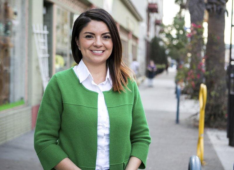 FILE - This undated photo provided by the Lena Gonzalez for State Senate campaign shows City Councilmember Lena Gonzalez in Long Beach, Calif. (Gonzalez for State Senate via AP, File)