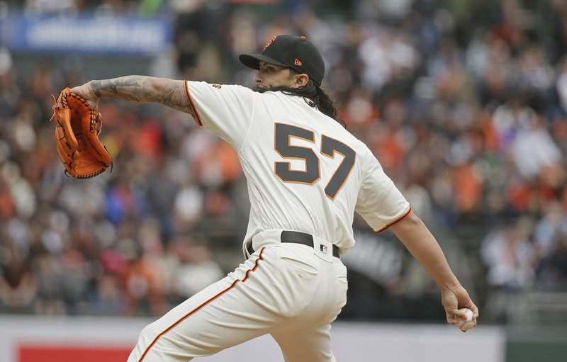 San Francisco Giants starting pitcher Dereck Rodriguez works in the first inning of a baseball game against the Tampa Bay Rays, Friday, April 5, 2019, in San Francisco. (AP Photo/Eric Risberg)