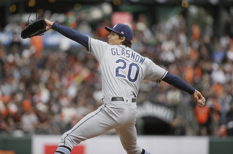 Tampa Bay Rays starting pitcher Tyler Glasnow works in the first inning of a baseball game against the San Francisco Giants, Friday, April 5, 2019, in San Francisco. (AP Photo/Eric Risberg)