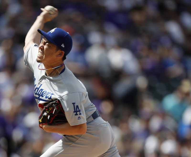Los Angeles Dodgers starting pitcher Kenta Maeda works against the Colorado Rockies in the first inning of a baseball game Friday, April 5, 2019, in Denver. (AP Photo/David Zalubowski)