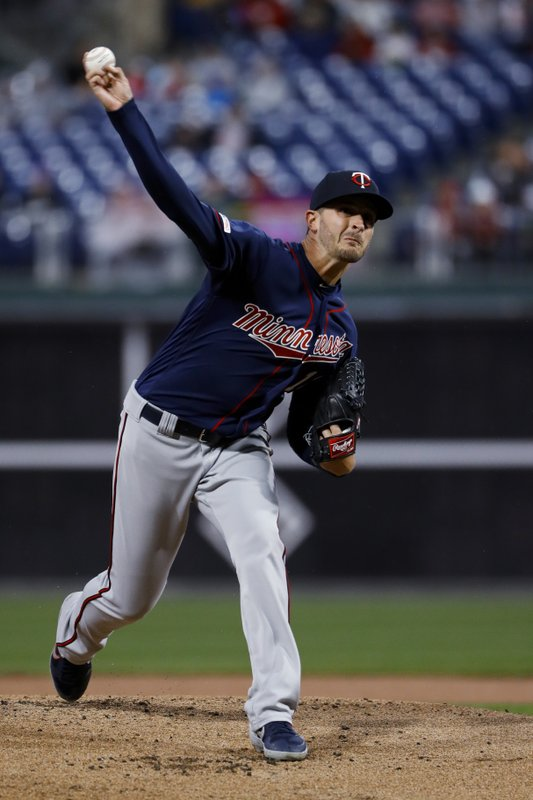 Minnesota Twins' Jake Odorizzi pitches during the first inning of the team's baseball game against the Philadelphia Phillies, Friday, April 5, 2019, in Philadelphia. (AP Photo/Matt Slocum)