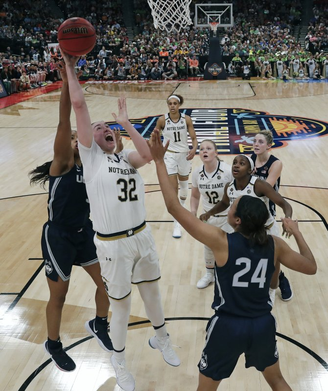 CORRECTS TO FIRST HALF - Notre Dame's Jessica Shepard (32) goes up for a shot in front of Connecticut's Napheesa Collier (24) during the first half of a Final Four semifinal of the NCAA women's college basketball tournament Friday, April 5, 2019, in Tampa, Fla. (AP Photo/John Raoux)