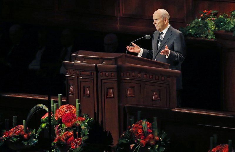 FILE - In this Oct. 6, 2018 file photo, The Church of Jesus Christ of Latter-day Saints President Russell M. (AP Photo/Rick Bowmer, File)