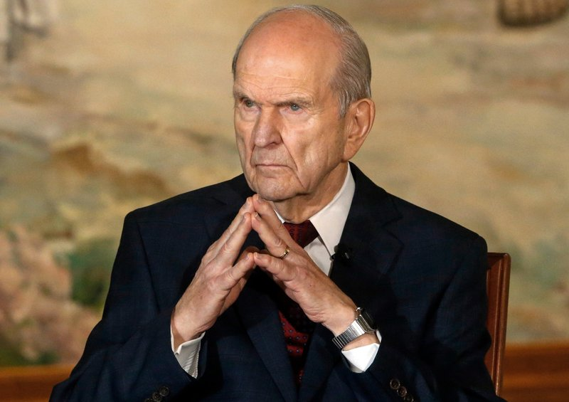 FILE - In this Jan. 16, 2018, file photo, President Russell M. Nelson looks on following a news conference, in Salt Lake City. (AP Photo/Rick Bowmer, File)