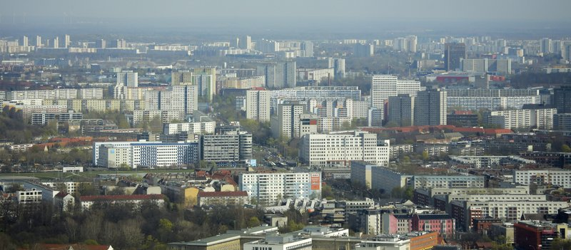 Apartment buildings in the former east part of the German capital photographed from the television tower in Berlin, Germany, Thursday, April 4, 2019. (AP Photo/Markus Schreiber)