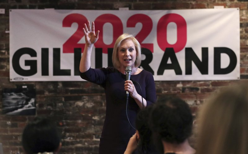 Democratic presidential candidate Sen. Kirsten Gillibrand, D-N.Y., addresses a gathering during a campaign stop at a coffee house in Dover, N. (AP Photo/Charles Krupa)