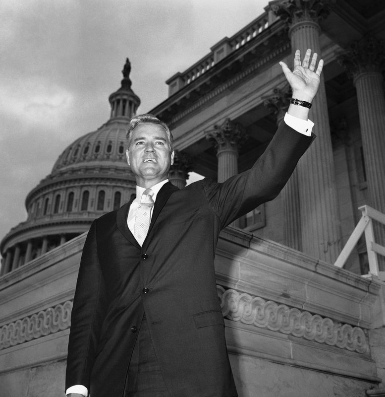 FILE - In this Nov. 10, 1966 file photo, Senator-elect Ernest Hollings, D-S.C., poses in front of the Capitol in Washington. (AP Photo/Henry Griffin, File)