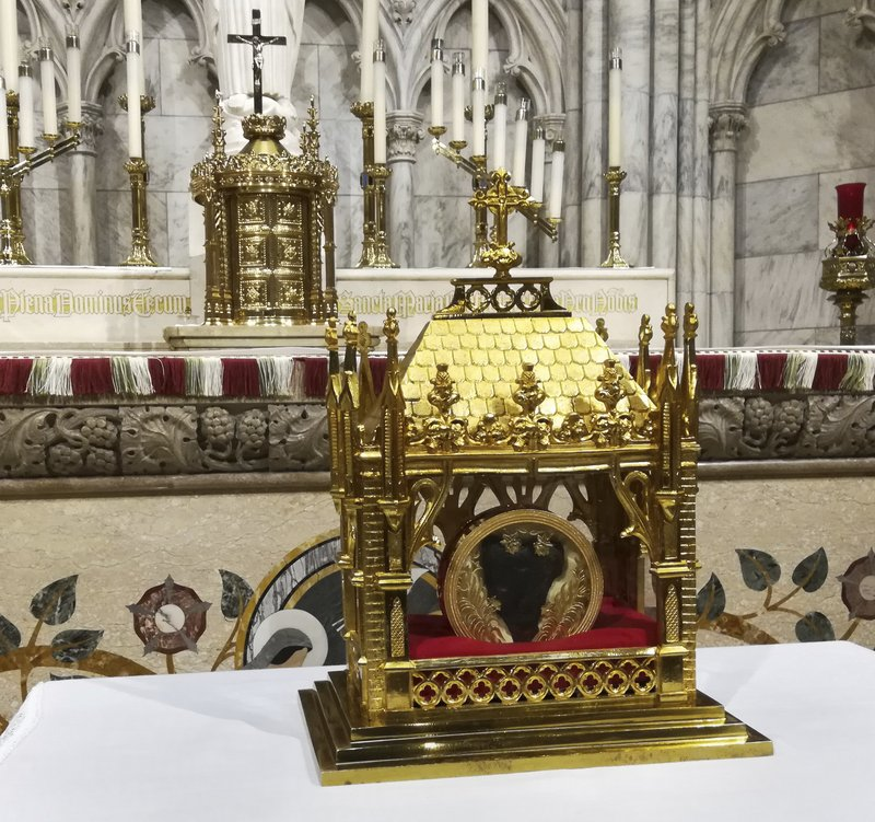 The 150-year-old heart of St. John Vianney is displayed at St. Patrick's Cathedral in New York. Saturday, April 6, 2019. (AP Photo/Julie Walker)