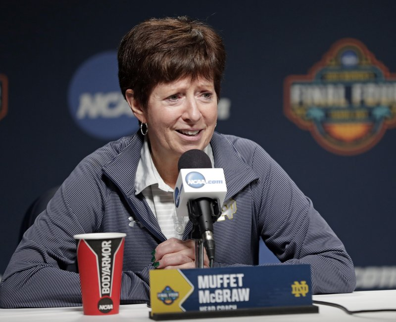 Notre Dame head coach Muffet McGraw answers questions during a news conference at the women's Final Four NCAA college basketball tournament Saturday, April 6, 2019, in Tampa, Fla. (AP Photo/John Raoux)