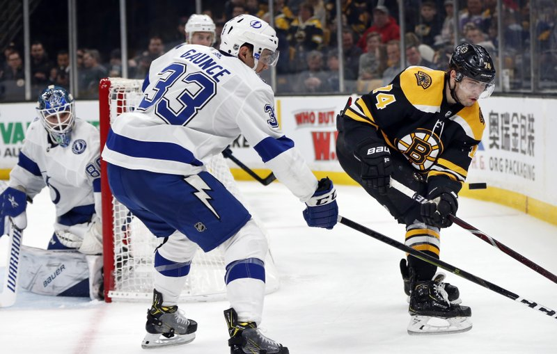 Tampa Bay Lightning's Cameron Gaunce (33) and Boston Bruins' Jake DeBrusk (74) battle for the puck during the second period of an NHL hockey game in Boston, Saturday, April 6, 2019. (AP Photo/Michael Dwyer)