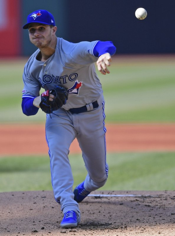 Toronto Blue Jays starting pitcher Thomas Pannone delivers in the first inning of a baseball game against the Cleveland Indians, Saturday, April 6, 2019, in Cleveland. (AP Photo/David Dermer)
