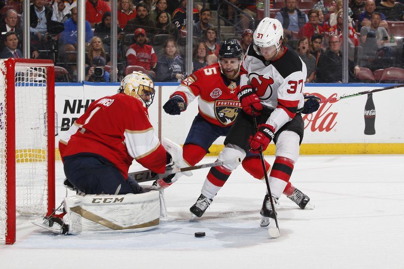 New Jersey Devils center Pavel Zacha (37) scores a goal past Florida Panthers goaltender Roberto Luongo (1) during the second period of an NHL hockey game, Saturday, April 6, 2019, in Sunrise, Fla. (AP Photo/Joel Auerbach)