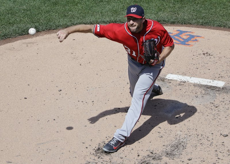 Washington Nationals' Max Scherzer (31) delivers a pitch during the second inning of a baseball game against the New York Mets, Sunday, April 7, 2019, in New York. (AP Photo/Frank Franklin II)