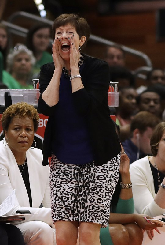 Notre Dame coach Muffet McGraw yells to her team during the first half against Baylor in the Final Four championship game of the NCAA women's college basketball tournament Sunday, April 7, 2019, in Tampa, Fla. (AP Photo/Chris O'Meara)