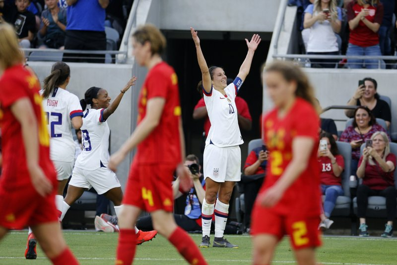 U.S. forward Carli Lloyd (10) celebrates her second goal against Belgium during the first half of an international friendly soccer match Sunday, April 7, 2019, in Los Angeles. (AP Photo/Ringo H.W. Chiu)