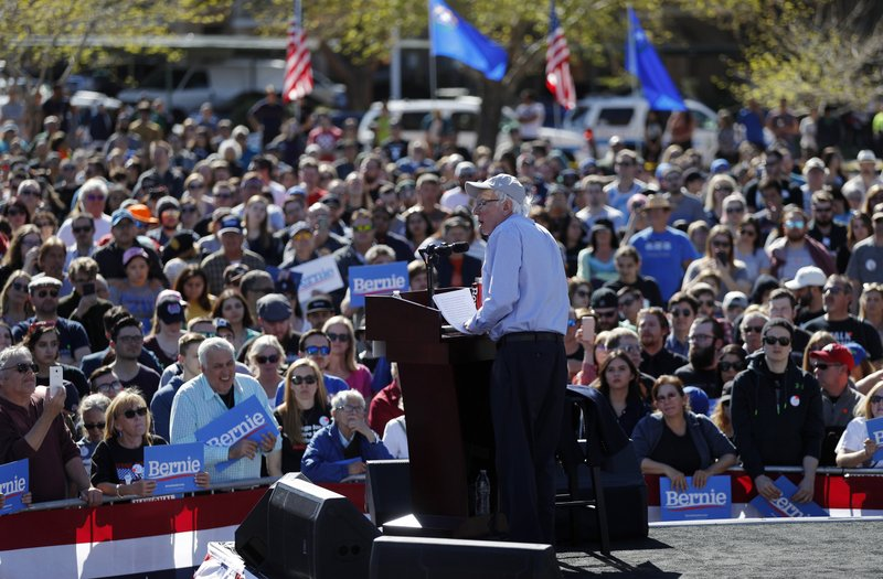 FILE - In this March 16, 2019, photo, Democratic presidential candidate Sen. Bernie Sanders, I-Vt., speaks at a rally in Henderson, Nev. (AP Photo/John Locher)