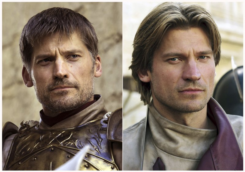 This combination photo of images released by HBO shows Nikolaj Coster-Waldau portraying Jaime Lannister in