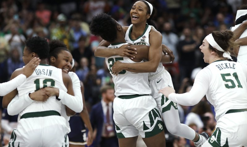 Baylor players celebrate after defeating Notre Dame in the Final Four championship game of the NCAA women's college basketball tournament Sunday, April 7, 2019, in Tampa, Fla. (AP Photo/Chris O'Meara)