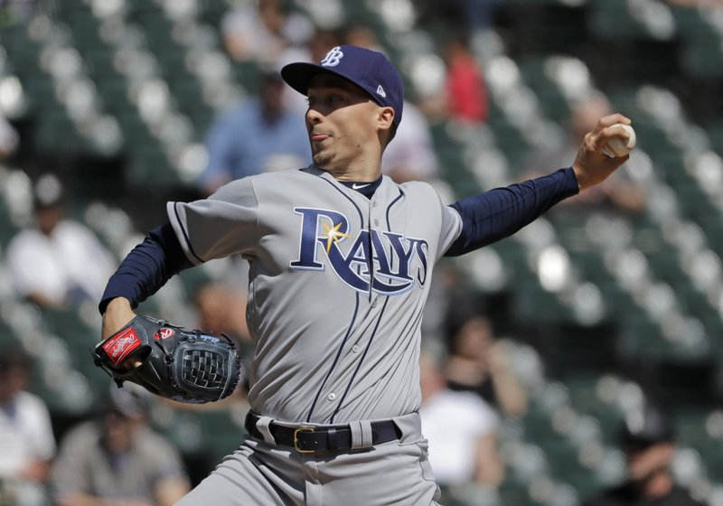Tampa Bay Rays starting pitcher Blake Snell throws against the Chicago White Sox during the first inning of a baseball game in Chicago, Monday, April 8, 2019. (AP Photo/Nam Y. Huh)