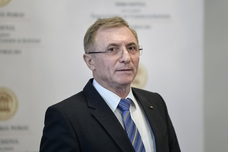 Romania's Prosecutor General Augustin Lazar pauses during a press statement at the Public Ministry in Bucharest, Romania, Monday, April 8, 2019. (AP Photo/Andreea Alexandru)
