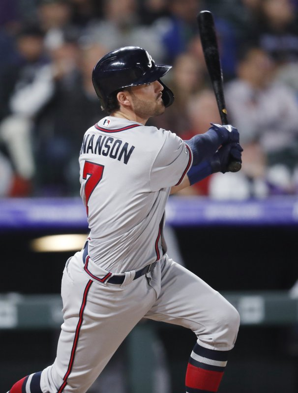 Atlanta Braves' Dansby Swanson follows the flight of his triple to drive in two runs off Colorado Rockies starting pitcher Kyle Freeland in the fifth inning of a baseball game Monday, April 8, 2019, in Denver. (AP Photo/David Zalubowski)