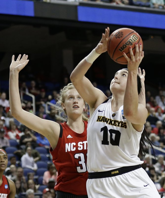 Iowa's Megan Gustafson (10) shoots against North Carolina State's Elissa Cunane (33) during the second half of a regional women's college basketball game in the NCAA Tournament in Greensboro, N. (AP Photo/Gerry Broome)