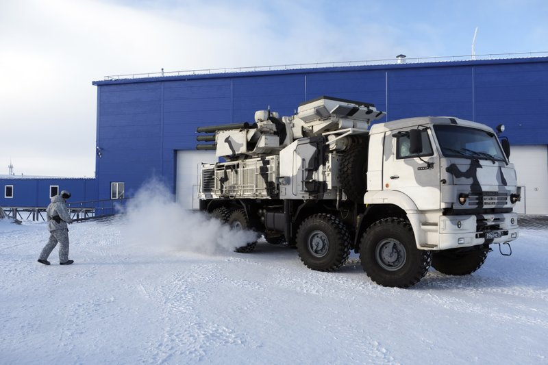 In this photo taken on Wednesday, April 3, 2019, a Russian military's Pansyr-S1 air defense system leaves a garage during a military drill on Kotelny Island, part of the New Siberian Islands archipelago located between the Laptev Sea and the East Siberian Sea, Russia. (AP Photo/Vladimir Isachenkov)