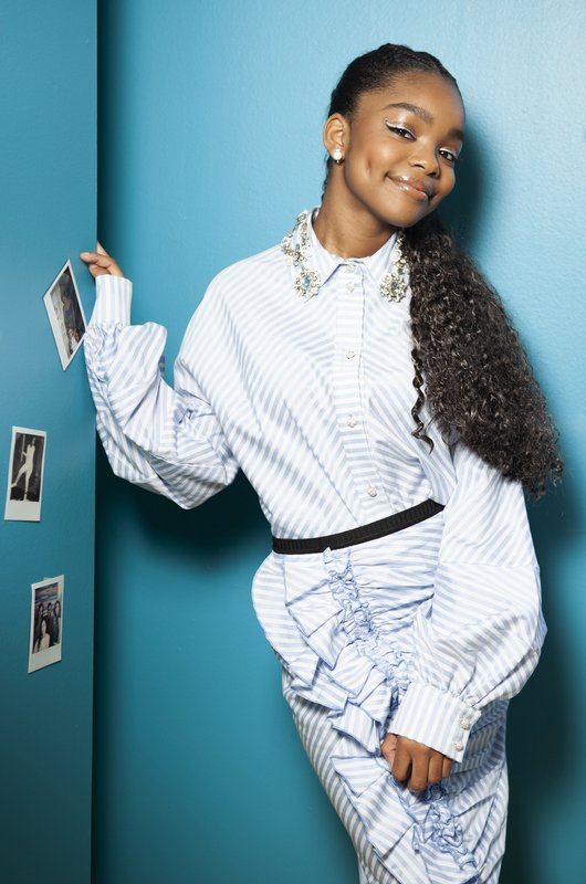 This March 27, 2019 photo shows actress Marsai Martin posing in her office, Genius Productions, in Los Angeles. (Photo by Rebecca Cabage/Invision/AP)