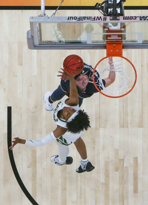 Baylor forward NaLyssa Smith, bottom, defends against Notre Dame forward Jessica Shepard during the second half of the Final Four championship game of the NCAA women's college basketball tournament Sunday, April 7, 2019, in Tampa, Fla. (Dirk Shadd/Tampa Bay Times via AP)