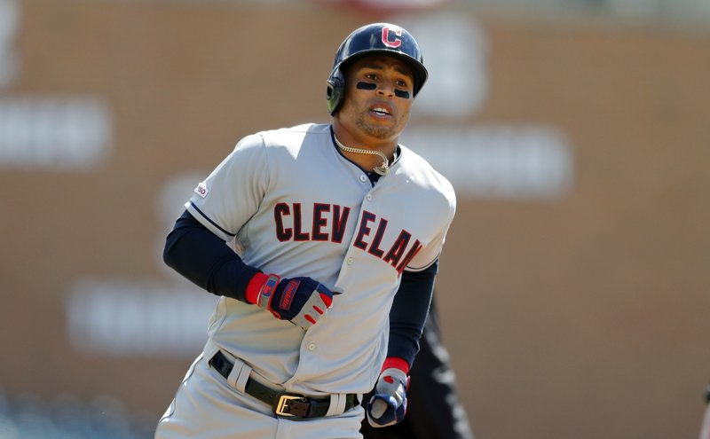 Cleveland Indians' Leonys Martin rounds third base after his solo home run during the first inning of a baseball game against the Detroit Tigers, Tuesday, April 9, 2019, in Detroit. (AP Photo/Carlos Osorio)