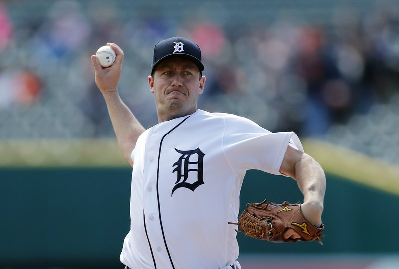 Detroit Tigers starting pitcher Jordan Zimmermann throws during the first inning of a baseball game against the Cleveland Indians, Tuesday, April 9, 2019, in Detroit. (AP Photo/Carlos Osorio)