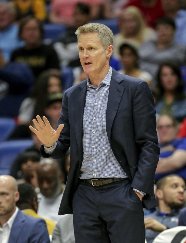 Golden State Warriors head coach Steve Kerr calls to his players in the first half of an NBA basketball game against the New Orleans Pelicans in New Orleans, Tuesday, April 9, 2019. (AP Photo/Scott Threlkeld)