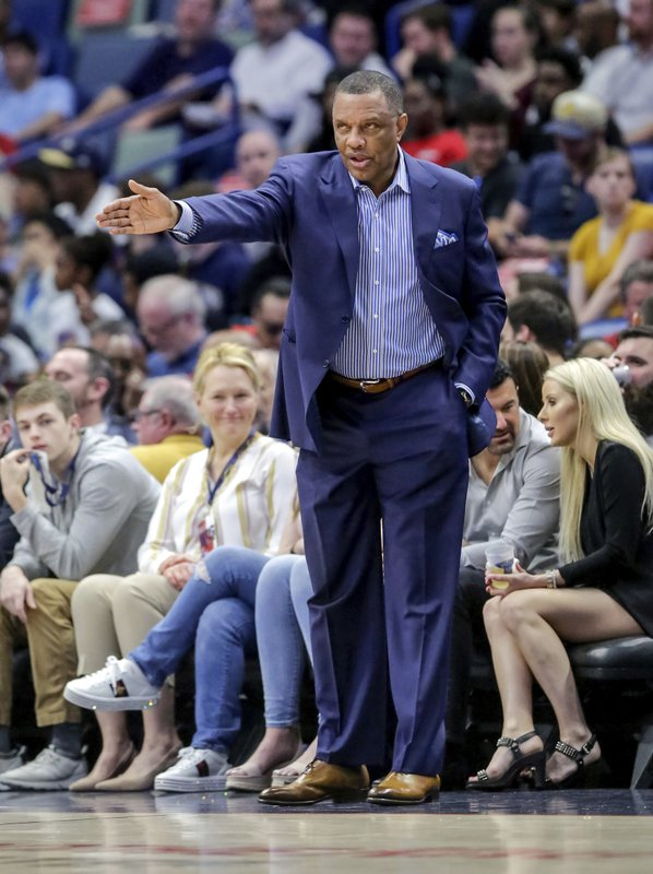 New Orleans Pelicans head coach Alvin Gentry talks to his players in the first half of an NBA basketball game against the Golden State Warriors in New Orleans, Tuesday, April 9, 2019. (AP Photo/Scott Threlkeld)