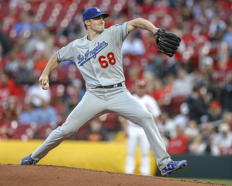 Los Angeles Dodgers starting pitcher Ross Stripling winds up during the first inning of the team's baseball game against the St. (AP Photo/Scott Kane)