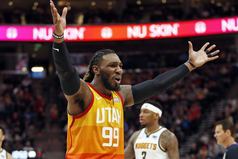 Utah Jazz forward Jae Crowder (99) argues with an official following a foul in the first half during an NBA basketball game against the Denver Nuggets Tuesday, April 9, 2019, in Salt Lake City. (AP Photo/Rick Bowmer)