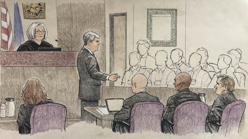 This courtroom sketch provided by Cedric Hohnstadt depicts the opening argument by Hennepin County prosecutor Patrick Lofton, standing, Tuesday, April 9, 2019, in Minneapolis, during the murder trial of former Minneapolis police Officer Mohamed Noor, second from right, who fatally shot an unarmed Australian woman, Justine Ruszczyk Damond, in July 2017, after she called 911 to report a possible sexual assault behind her home. (Cedric Hohnstadt via AP)