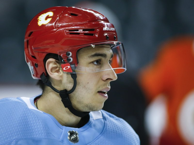 Calgary Flames' Johnny Gaudreau looks on during practice in Calgary, Alberta, Tuesday, April 9, 2019. (Jeff McIntosh/The Canadian Press via AP)