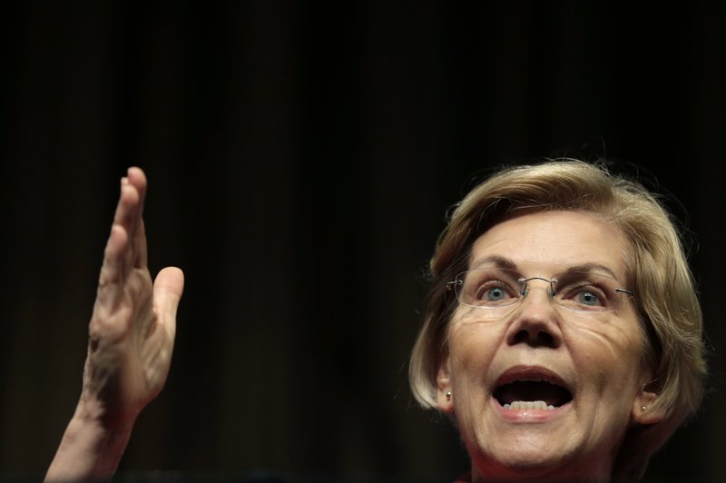 U.S. Sen. Elizabeth Warren, D-Mass., a candidate for the 2020 Democratic presidential nomination, speaks during the National Action Network Convention in New York, Friday, April 5, 2019. (AP Photo/Seth Wenig)
